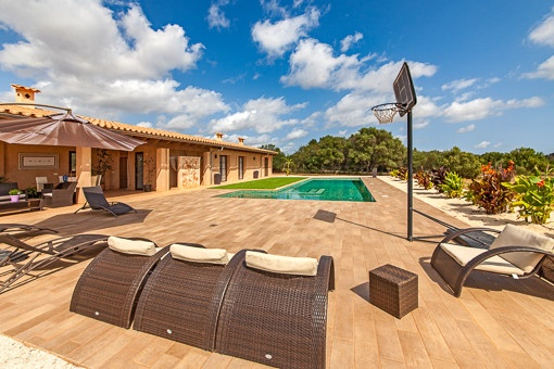 Pool is surrounded by a terrace