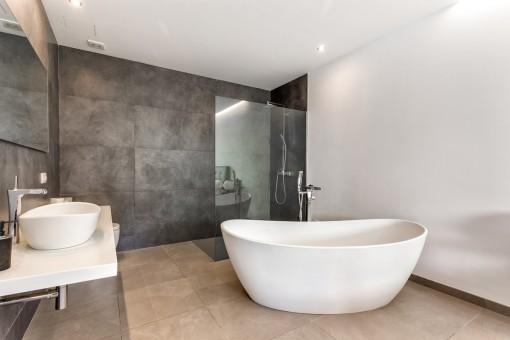 Elegant bathroom with shower and bathub