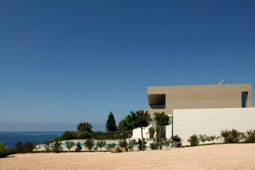 Views from the garden to the villa