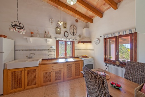 Rustic kitchen with dining table
