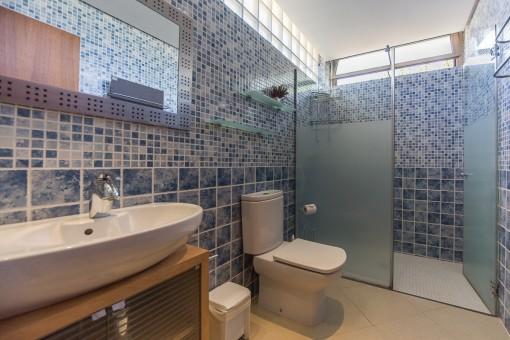 Ample bathroom with shower