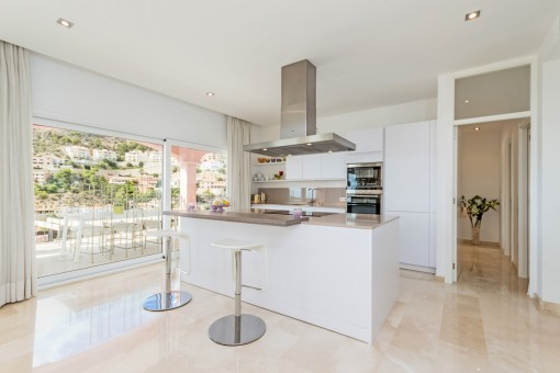 Modern open kitchen with access to terrace