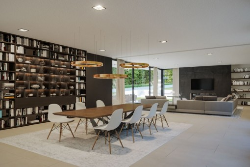 Spacious dining area with bookshelf
