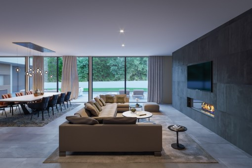 Alternative view of the living area with fireplace