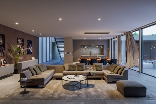 Cosy living area with direct access to the terrace