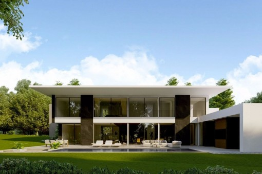 Modern luxury villa with advanced architecture with partial sea views