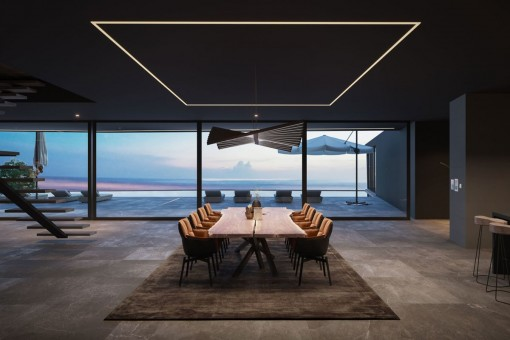 Modern dining area with panoramic windows