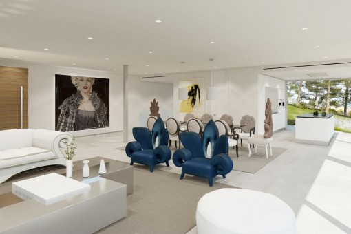 spacious, modern, newly-constructed villa with sea views in santa ... - Villa Wohnzimmer Modern