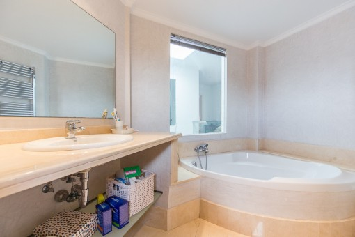 Bright bathroom with bath tub