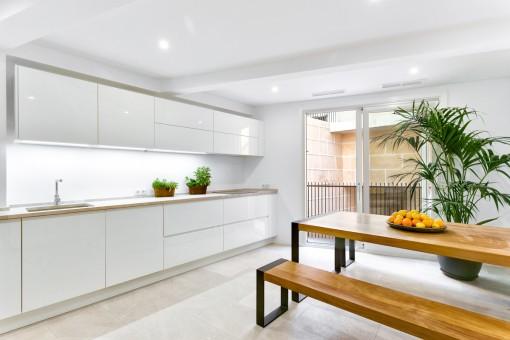 Spacious kitchen with balcony
