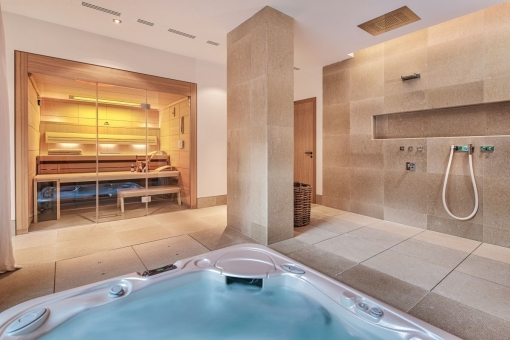 Private sauna and jacuzzi