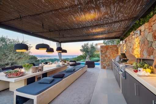 Summer kitchen with barbecue