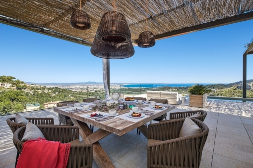 Idyllic dining area with mediterran sea views