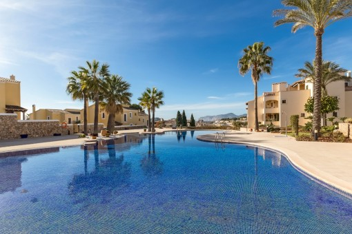Large pool area with sunny terraces