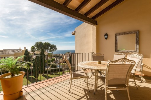 Idyllic terrace with lovely sea views