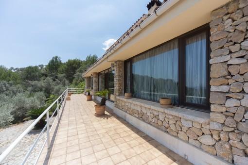 Spacious terraces surrounding the property