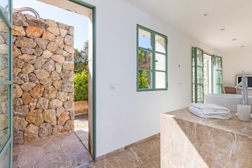Bathroom with garden access