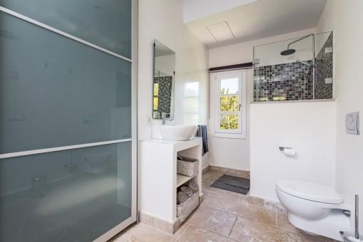 Small bathroom with wardrobe