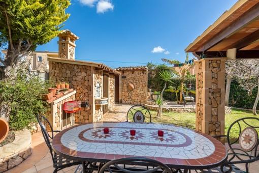 Idyllic dining area in the mediterranean garden
