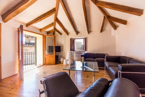 With authentic wooden floors, beautiful exposed beams