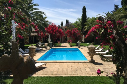 The pool area is surrounded by a beautiful garden