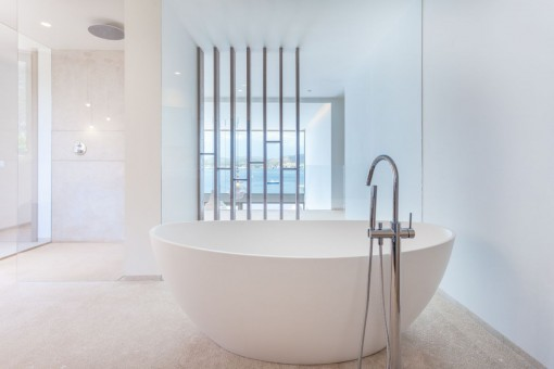 Luxurious bathroom with bathtub