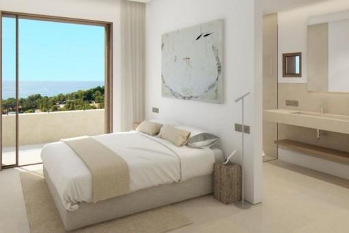 Cosy master bedroom with great sea views