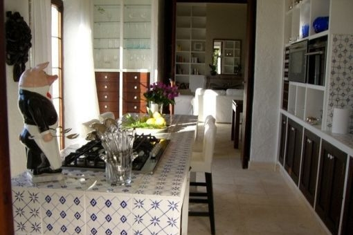 Mediterranean kitchen with dining area