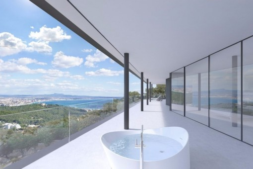 Exclusive and impressive luxury villa in the upper part of Genoa with outstanding views of the sea and the Bay of Palma