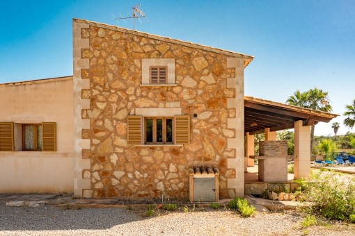 Finca with natural stone wall
