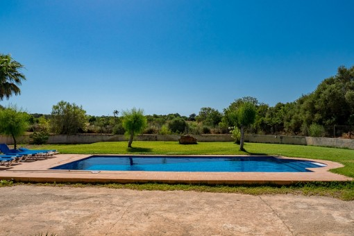 Views from the finca to the pool and garden
