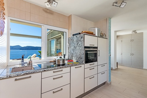Modern kitchen with lovely sea views