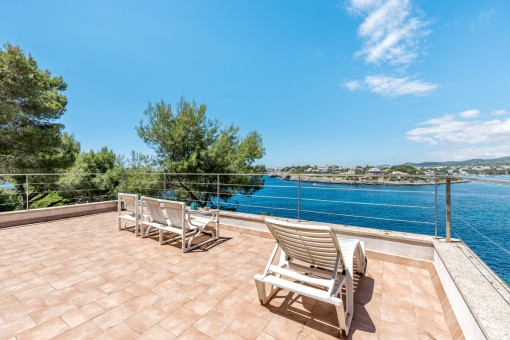 Large sun terrace with outstanding sea views