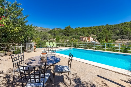 Spacious terrace next to the swimming pool
