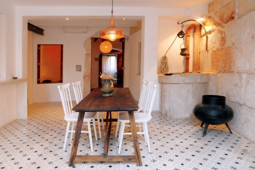 Traditional but modern dining area