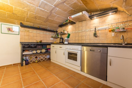 Charming kitchen with vaulting made of stone