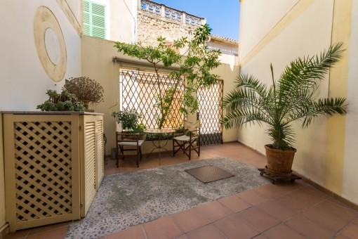 Mediterranean patio with sitting area