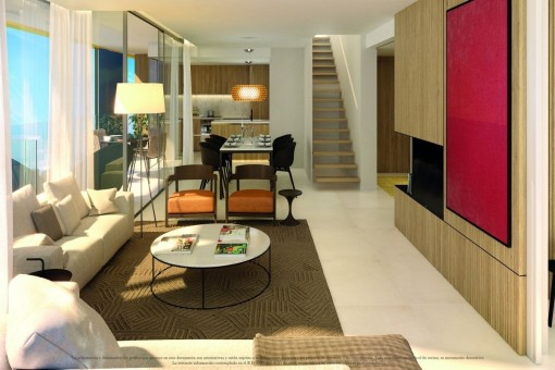 Open and modern living and dining area