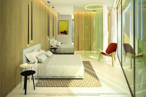 Stylish bedroom with shower