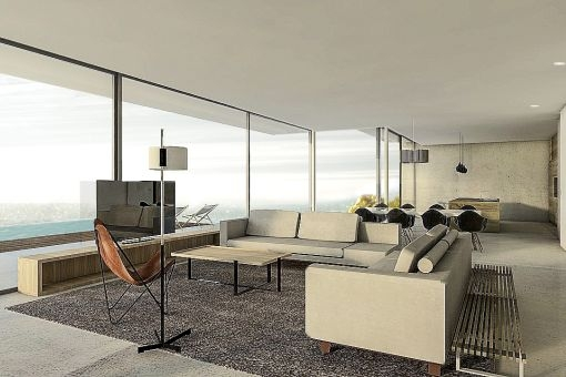 Modern living area with panoramic windows