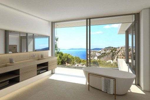 Noble bathroom with bathtub and sea views