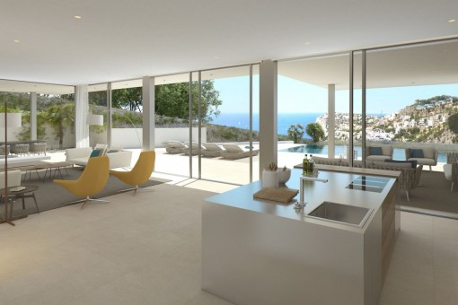 Modern and open living and dining area with cooking island