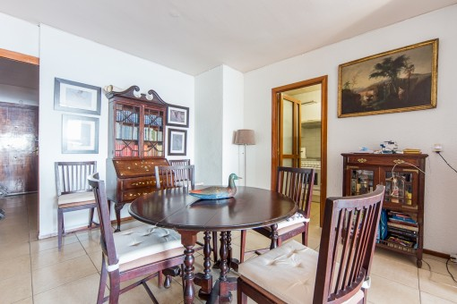 Bright dining area with access to the kitchen