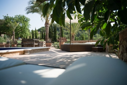 Chillout area next to the pool