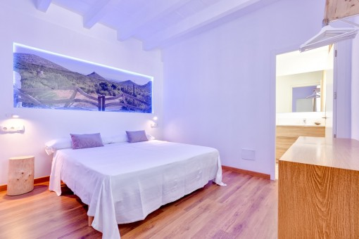 Bedroom with nice atmosphere and bathroom