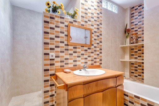 Appealing bathroom with shower