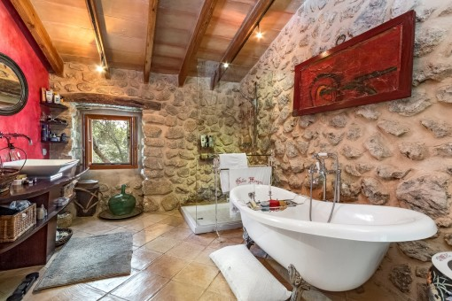 Authentic bathroom with bath tub and shower