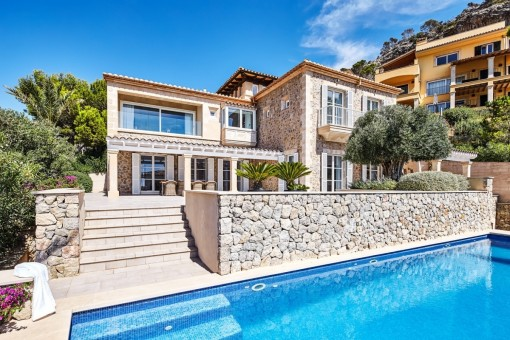 Exterior view of the luxury natural stone villa with pool in Puerto Andratx