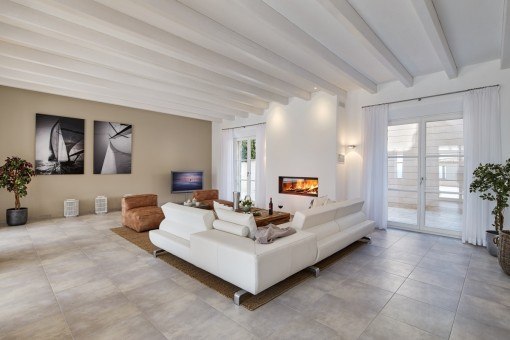 Inviting seating area with open fireplace