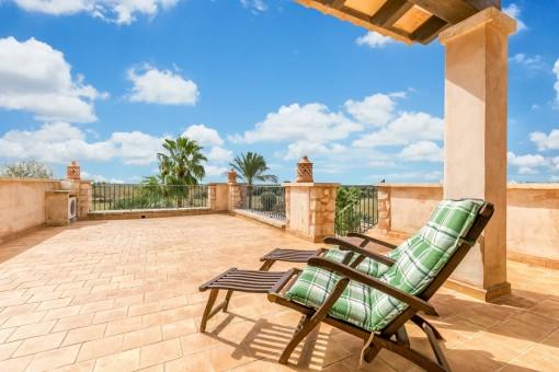 Great sunny terrace on the upper floor